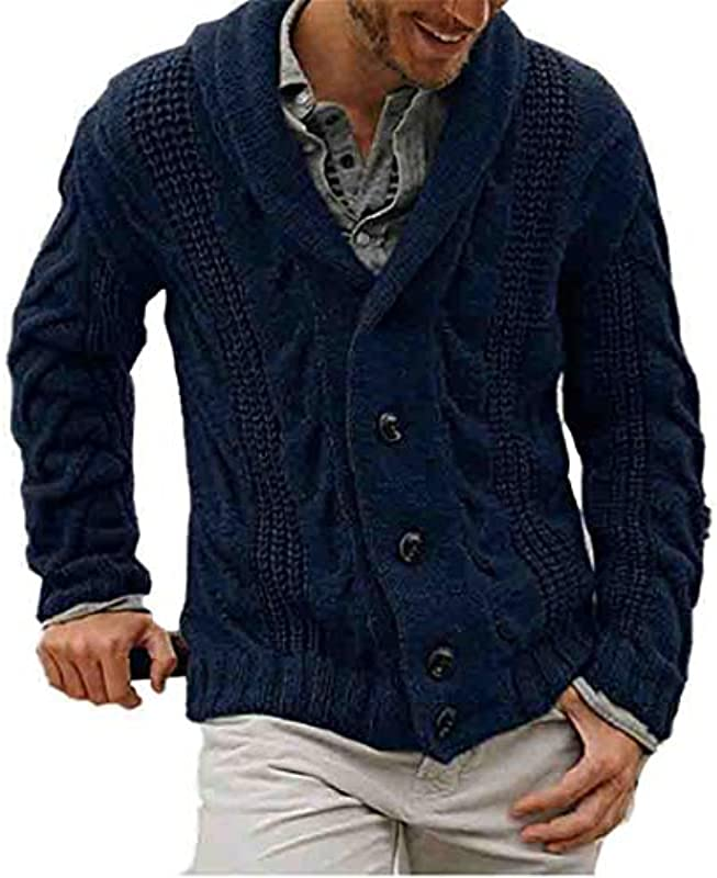 wkd-thvb Cotton Men Cardigan Herbst Winter Warm Soft Patchwork Langarm gestrickt Casual Male Sweater: Odzież