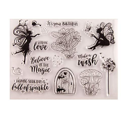 Magic Fairy Birthday Wish Dandelion Stamps Cards Rubber Clear Stamp for Card Making Clear Stamp