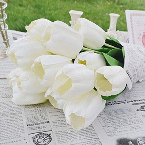pcs Artificial Tulip Flowers Long Stem Bouquet Simulation Flower (White ()