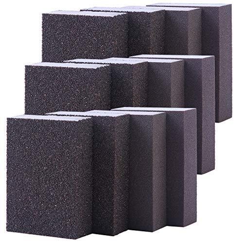 Elcoho 12 Pieces Sanding Sponge Coarse Medium Fine Superfine 4 Different Specifications Assortment Sanding Blocks, Washable and Reusable Sand Sponge Kit (Assortment Grade)