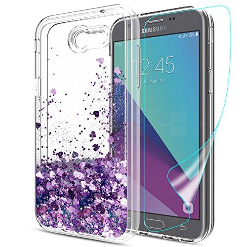 Galaxy Amp Prime 2/Express Prime 2/J3 Mission/J3 Emerge/J3 Prime/J3 Eclipse/J3 Luna Pro/Sol 2 Case with HD Screen Protector, Atump Liquid Glitter TPU Shockproof Cover for Samsung J3 2017 LS Purple