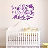 BATTOO Fearfully and Wonderfully Made Decal Bible Verse Vinyl Wall Decal Scripture Wall Decal Nursery decal for girls Boys Bedroom Vinyl Wall Decal, 40'' W by 28.5'' H purple