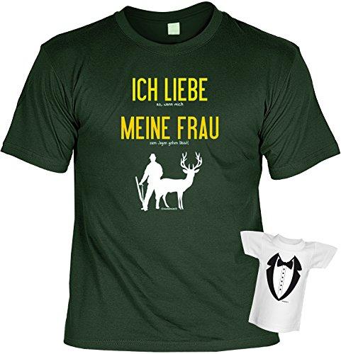 Lustiges Jäger Geschenk Set - T-Shirt + Flaschenshirt : Ich liebe es .. - T-Shirt Jäger Geschenkset Gr: L Farbe: dunkelgrün