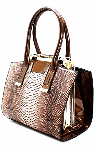 Snake Print Clutch-top Frame Satchel Handbag (blue)