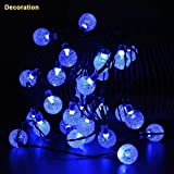 Hatop 30 LED Solar Powered String Light Garden Path Yard Decor Outdoor festival Lamp Christmas Halloween Wedding Xmas Tree Decorations (Blue)