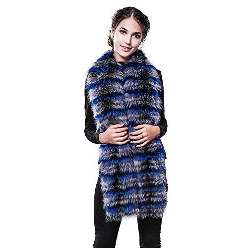 FURTALK Long Real Fox Fur Scarf women's Winter Scarf corchet Luxury infinity Fur Scarf (Blue) by FURTALK