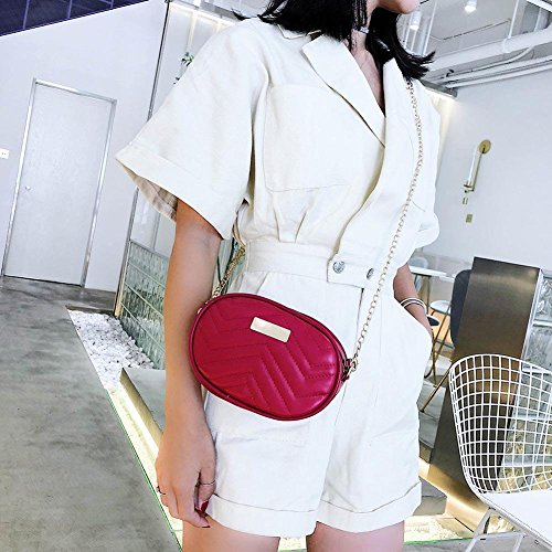 Red Shoulder Fanny Crossbody Chain Casual Women Everpert Waist Packs Oval Leather Bags x0B1ngwqP