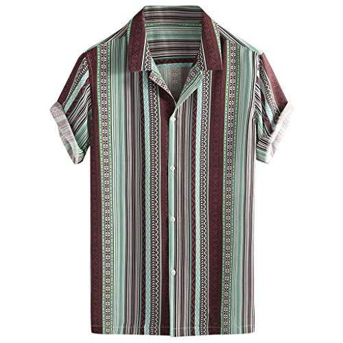Fastbot Men Shirts Short Sleeve Polo Shirt Button Down Slim fit Colorful Stripe Summer Short Loose Buttons Casual Blouse Red