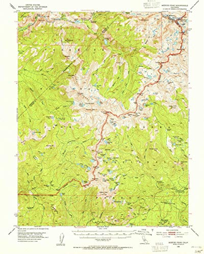 YellowMaps Merced Peak CA topo map, 1:62500 Scale, 15 X 15 Minute, Historical, 1953, Updated 1955, 20.8 x 16.7 in - Paper