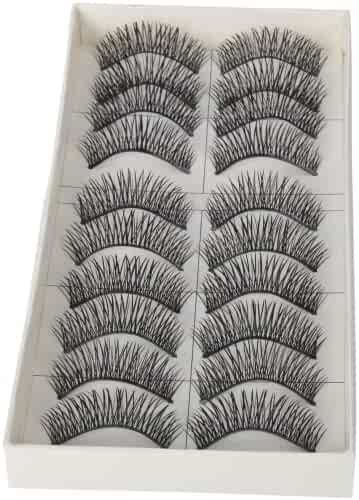 Dimart 10 Pairs Black Long Thick Soft Reusable False Eyelashes Fake Eye Lash for Makeup Cosmetic by CyberStyle