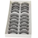 nykkola NYKKOLA 10 Pairs Black Long Thick Soft Reusable False Eyelashes Fake Eye Lash for Makeup Cosmetic