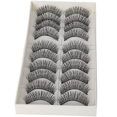 Dimart 10 Pairs Black Long Thick Soft Reusable False Eyelashes Fake Eye Lash