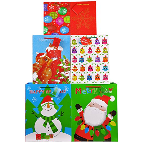 Fzopo Christmas Gift Bags Bulk Set includes 4 Extra Large 4 Large 4 Medium with Tags and Handles Christmas Print Gift Bags Assorted Sizes for Wrapping Holiday Gifts (Pack of 12)