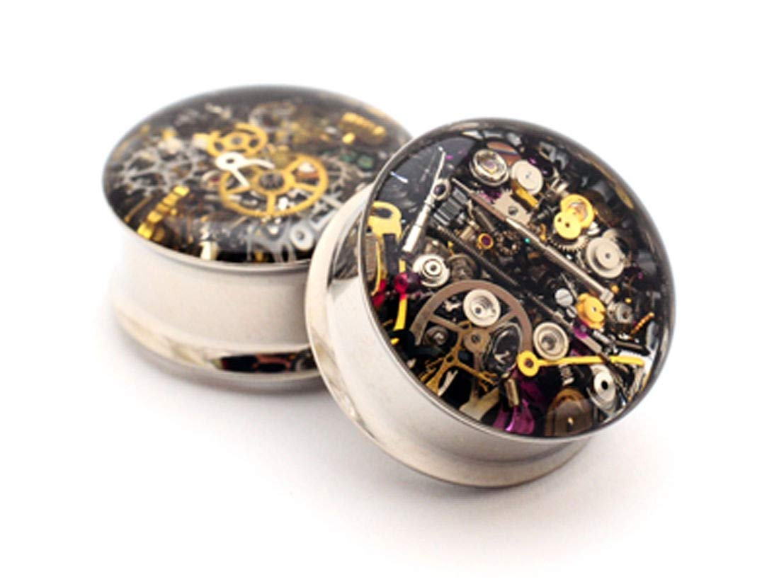 nugroho_mys Pair of Steampunk Watch Gears Plugs gauges (1 5/8'' - 42mm) by nugroho_mys