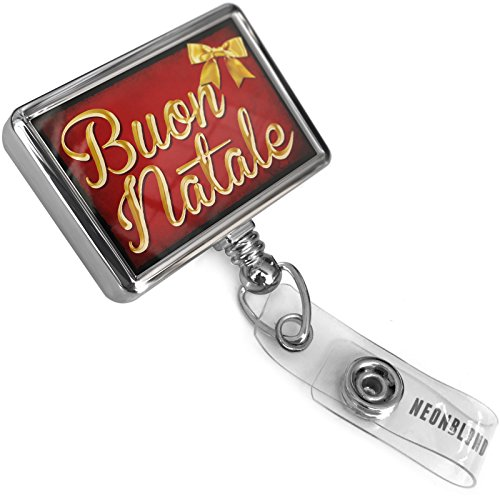 Retractable ID Badge Reel Merry Christmas in Italian from Italy, Vatican City, San Marino with Bulldog Belt Clip On Holder Neonblond