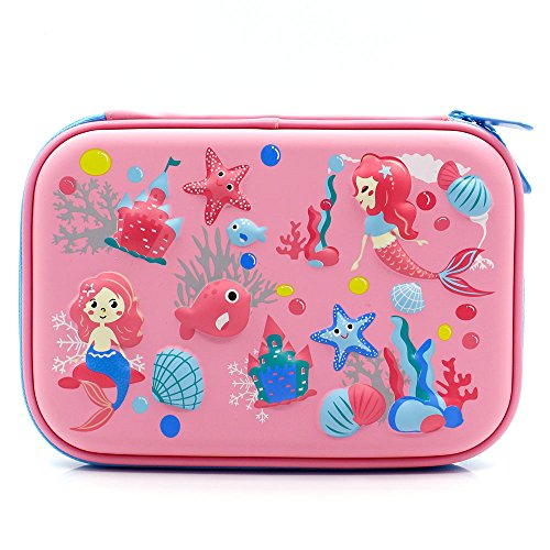 Mermaid Big Capacity Hardtop Pencil Case with Compartment - Cute School Stationery Supply Organizer Box Pen Holder for Kids Girls Toddlers (Light Pink) by SOOCUTE