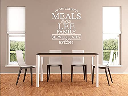 Personalised family kitchen wall art quote wall sticker decal modern transfer black