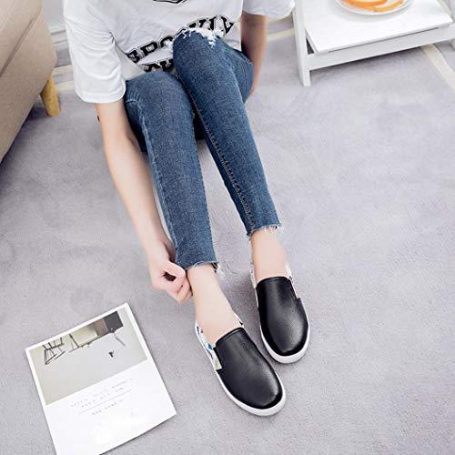 Shoes Comfortable Shoes Flats Leisure Shoes Lazy Autumn Black On Slip Women Fashion Winter Graffiti FALAIDUO X18qYO0