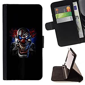 DEVIL CASE - FOR Apple Iphone 5 / 5S - Scary Spooky Clown Black Halloween - Style PU Leather Case Wallet Flip Stand Flap Closure Cover