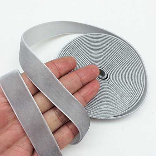 PEPPERLONELY 5 Yards Single Face Velvet Ribbon 16mm (5/8 Inch), Gray
