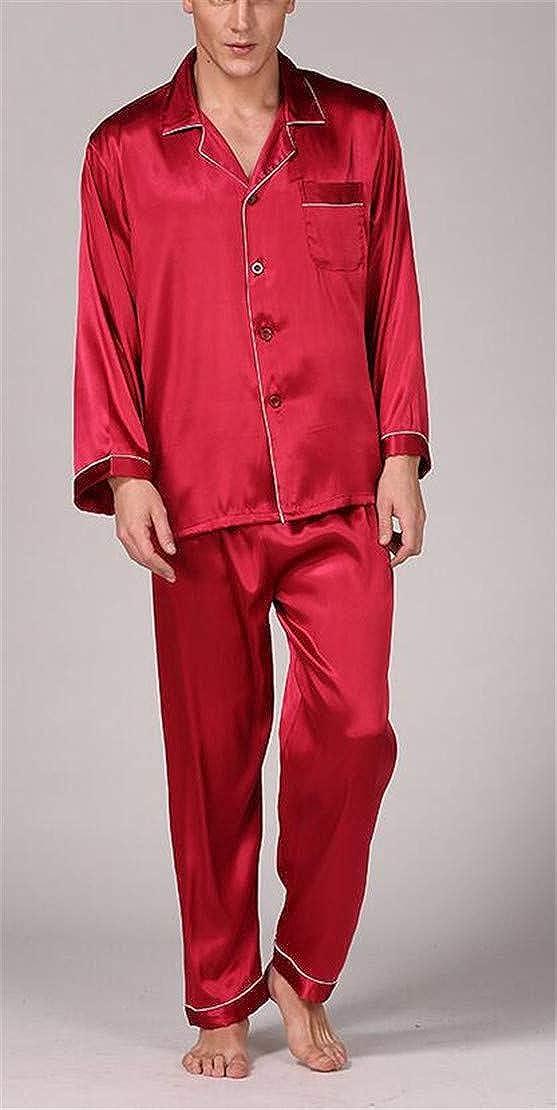 S-Fly Mens Satin Loungewear Buttons Sleepwear Shirts and Long Pajama Sets