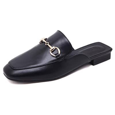 D-Sun Women's Womens Leather Oxford Backless Slipper Slip-ons Loafer Shoes