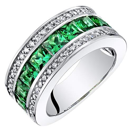 Sterling Silver Princess Cut Simulated Emerald 3-Row Wedding Ring Band 1.5 Carats Size 5