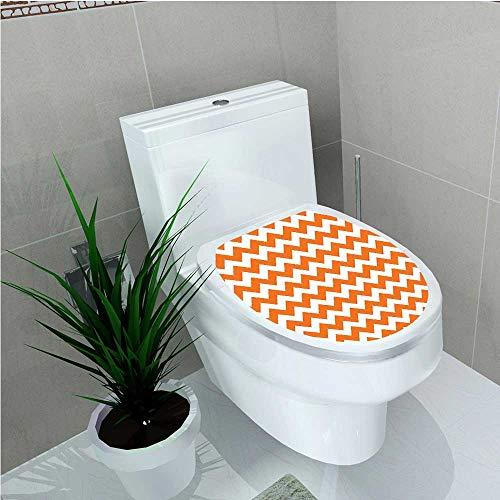 aolankaili Bathroom Toilet Halloween Pumpkin Color Chevron Traditional Holidays Autumn Celebrate W11 x L13 -