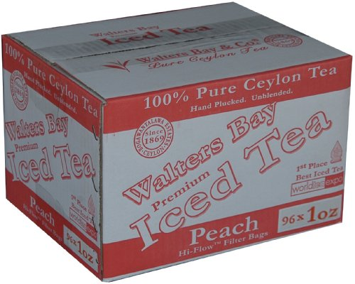 Walters Bay & Company, Pure Ceylon Premium Iced Tea, Peach Flavored, 96-Count, 1-Ounce Pouches by Walters Bay