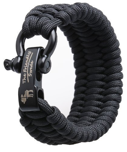 The Friendly Swede Trilobite Extra Beefy 500 lb Paracord Survival Bracelet with Stainless Steel Black Bow Shackle, Available in two Adjustable Sizes (Black, Fits 6''-7'')