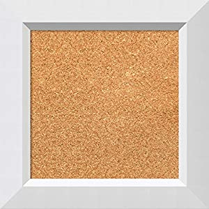 Framed Natural Cork Board Bulletin Board | Natural Cork Boards Country White Wash Frame | Framed Bulletin Boards | 16.25 x 16.25″