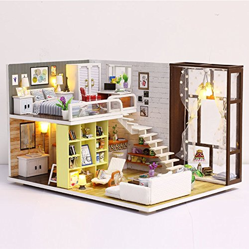 iiE Create Doll House Toy Miniature Wooden Doll House Loft with Furnitures Kitchen Bedroom Bathroom Best Kids Gift DIY Dollhouse Toys for Children