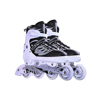 Sljj Outdoor Indoors Adult Black and White Fun Illuminating Adjustable Inline Skates Combo, Fashion Comfortable Speed Roller Skates for Ladies and Men (Color : C, Size : L (EU 39-EU 42)): Home & Kitchen