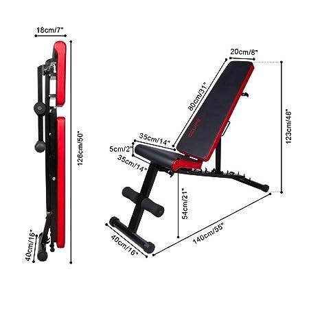 CCLIFE Banco de Musculación Multiposición Banco de Fitness o de Abdominales Ajustable,Plegable y Resistente a una Carga máxima de 600 kg, Color:Negro-021: ...