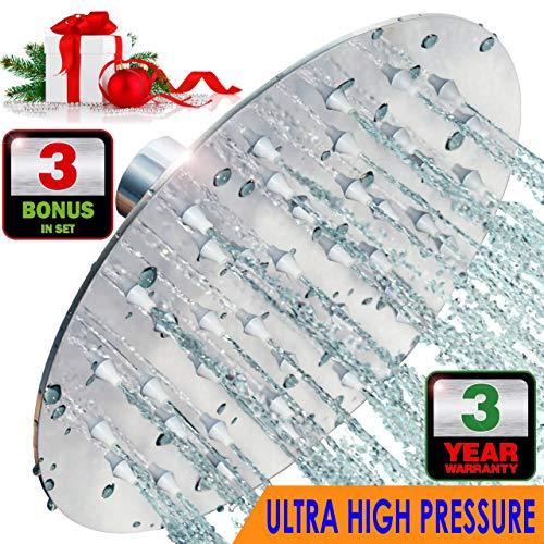 6 Inch ULTRA HIGH PRESSURE Stainless Steel Rain Shower Head | BONUS: Microfiber Cloth + Extra Self Cleaning Silicone Nozzles | 6 Luxury Rainfall Showerhead | Chrome Finish, Tool-Free Installation