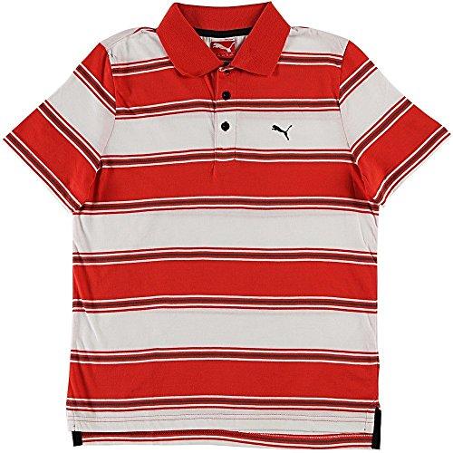 プーマ キッズ カジュアル ボーダー ポロシャツ PUMA 819470 半袖 シャツ ストライプ レッド
