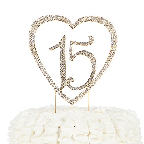 Ella Celebration 15 Heart Cake Topper, Gold 15th Birthday Party Quinceañera Rhinestone Metal Decoration (Gold)