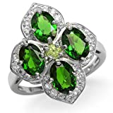 3.2ct. Green Chrome Diopside, Peridot & White Topaz 925 Sterling Silver Flower Cluster Ring Size 7