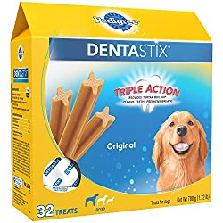 DENTASTIX Original Treats are the delicious oral care treat that your dog will love to eat – and you'll love to treat. Their chewy texture and patented design is clinically proven to reduce plaque and tartar buildup, so treat time promotes or...