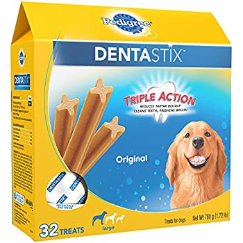 PEDIGREE DENTASTIX Large Dog Chew Treats, Original, (Pack of 32), Reduces Plaque and Tartar Buildup