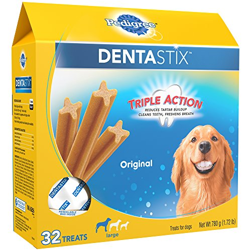 Pedigree Dentastix Dog Dental Treats Original Flavor, 32 Treats, Large (30 lb+ Dogs) -