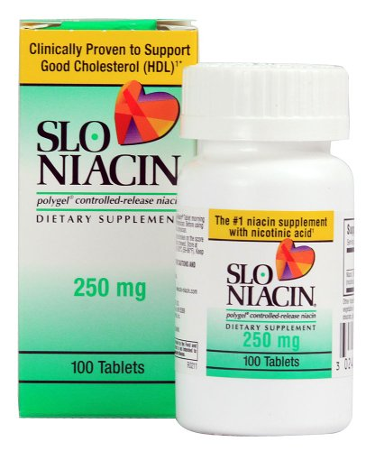 Slo-Niacin Polygel Controlled-Release Niacin, 250 mg, 100 Tablets Pack of 12 by Slo-Niacin