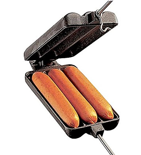 Heavy Cast Iron Hot Dog Pie Iron with Stay-Cool Wooden Handles (Hot Dog Iron)
