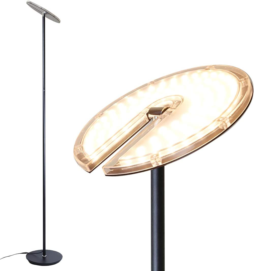 O Bright Dimmable LED Torchiere Floor Lamp, 270 Tilt Head, 3000 Lumens, Adjustable Brightness, Standing Pole Lamp Reading Light Floor Lamps for Living Room, Bedrooms, Dorm and Office Black