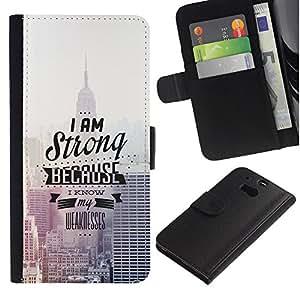 HTC One M8 , la tarjeta de Crédito Slots PU Funda de cuero Monedero caso cubierta de piel (Empire State Building Typography)