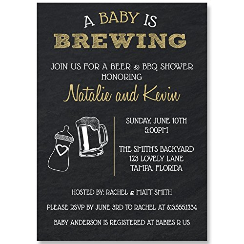 Baby Brewing Baby Shower Invitations, Dad, Little Man, Brewery, Craft Beer, New Father, Man Shower, Beer Invites, Unisex Baby Shower, 10 Pack Customized Baby Shower Invitations with White Envelopes Customized Baby Shower Invitations