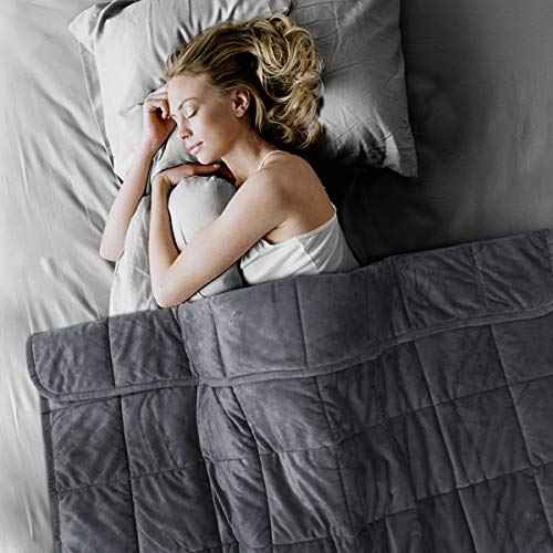 Lovife Weighted Blanket 15 lbs Queen Size for Adults 60×80 Inches Micro Velvet Plush Minky Ultra Soft Sleep Better Premium Glass Beads (Grey)