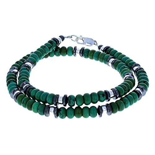 Timeless Treasures - Turquoise, Hematite (Hemalyke) & Sterling Silver Beaded Necklace - 24
