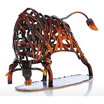 Tooarts Metal Weaving Cattle Red Iron Sculpture Abstract Figurine Modern Art Home Decor Animal Craft Gift