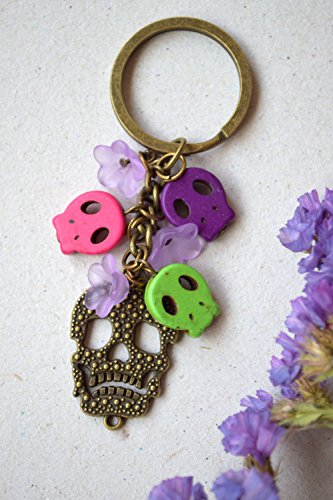[Skull Keychain Day Of The Dead Keyring Goth Dia de Muertos Sugar Skull mexican holiday vintage key chain Halloween Charm Keychain Gemstone beads gothic gifts gift for him biker gift gift for him] (Costume Ideas For Day Of The Dead)